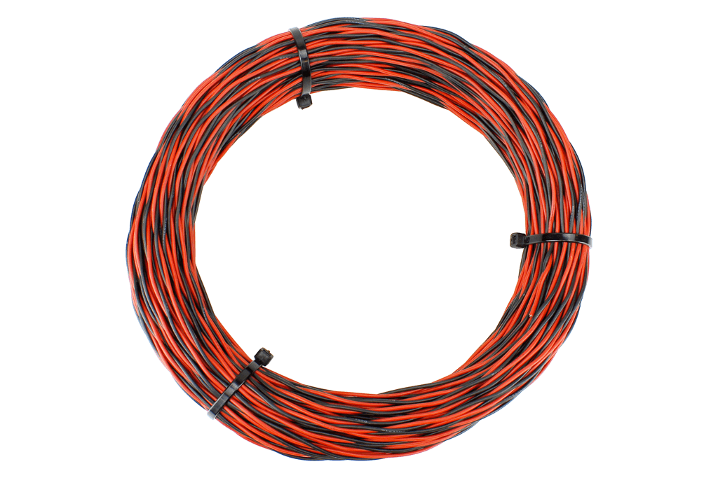 Twisted Bus Wire 50m 26x 0.15 (17g) Twin Red/Black.
